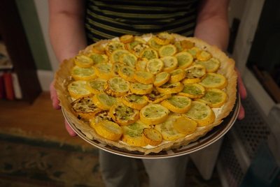 squash and goat cheese tart