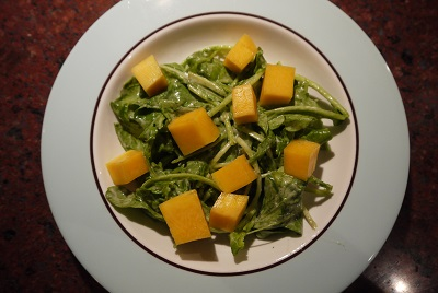 pickled squash and arugula
