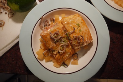 salmon and cantaloupe
