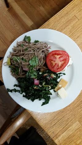 kale and noodles